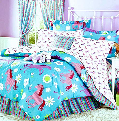 Girls Turquoise Blue & Pink Pony Horse Comforter Set W/Sheets (Bed in a Bag) (Queen Size) (Bed Queen Bed For Set Pony)