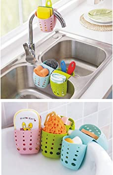 Foldable Sink Sponge Plastic Drain Rack Soap Cleaning Storage Suction Cup Hanger