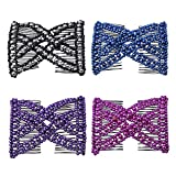 Casualfashion Ez Stretchable Combs, Lady Women Girls Hair Combs, Double Clips Comb, 4-count