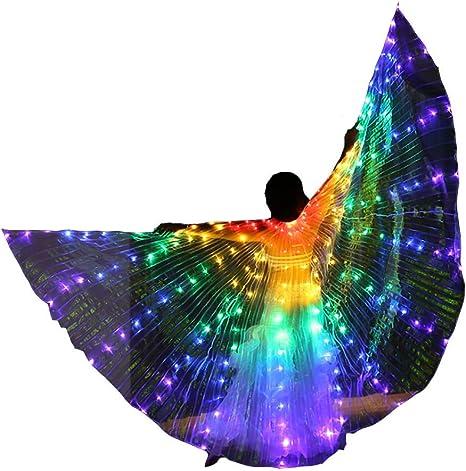 Jolie Disfraz de alas de Mariposa Alas de Baile LED Arco Iris con ...