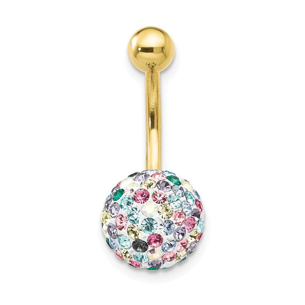 10k Yellow Gold With Multi-color Crystal Ball Belly Ring Dangle