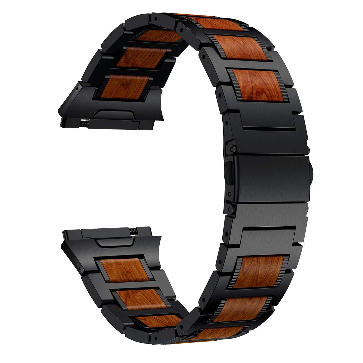 LDFAS Wood Band Compatible for Fitbit Ionic Band, Natural Wood Red Sandalwood Black Stainless Steel Accessory Metal Watch Strap Compatible for Fitbit Ionic Smartwatch (Update) by LDFAS