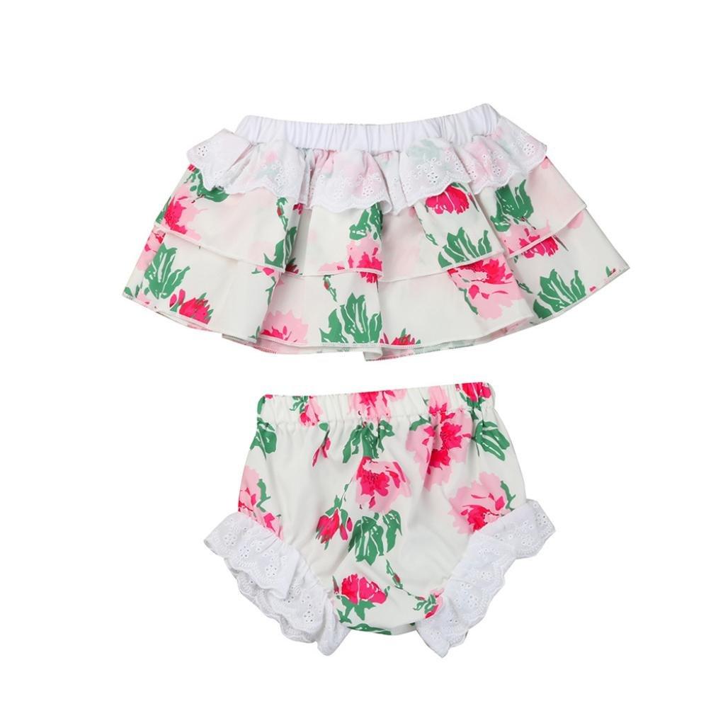 Fabal Baby Girls Short Sleeve T Shirt Casual Shorts Kids 2Pcs Set Children Suit Clothes