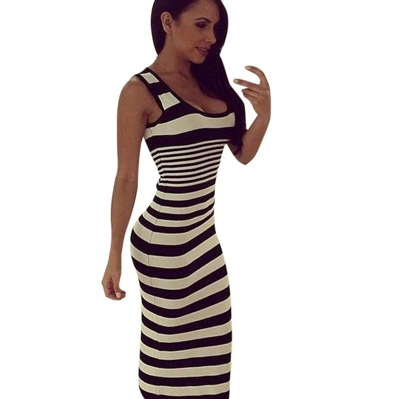 feiXIANG Mode Streifen kleider lange Abendmode Shirtkleid für Damen ...
