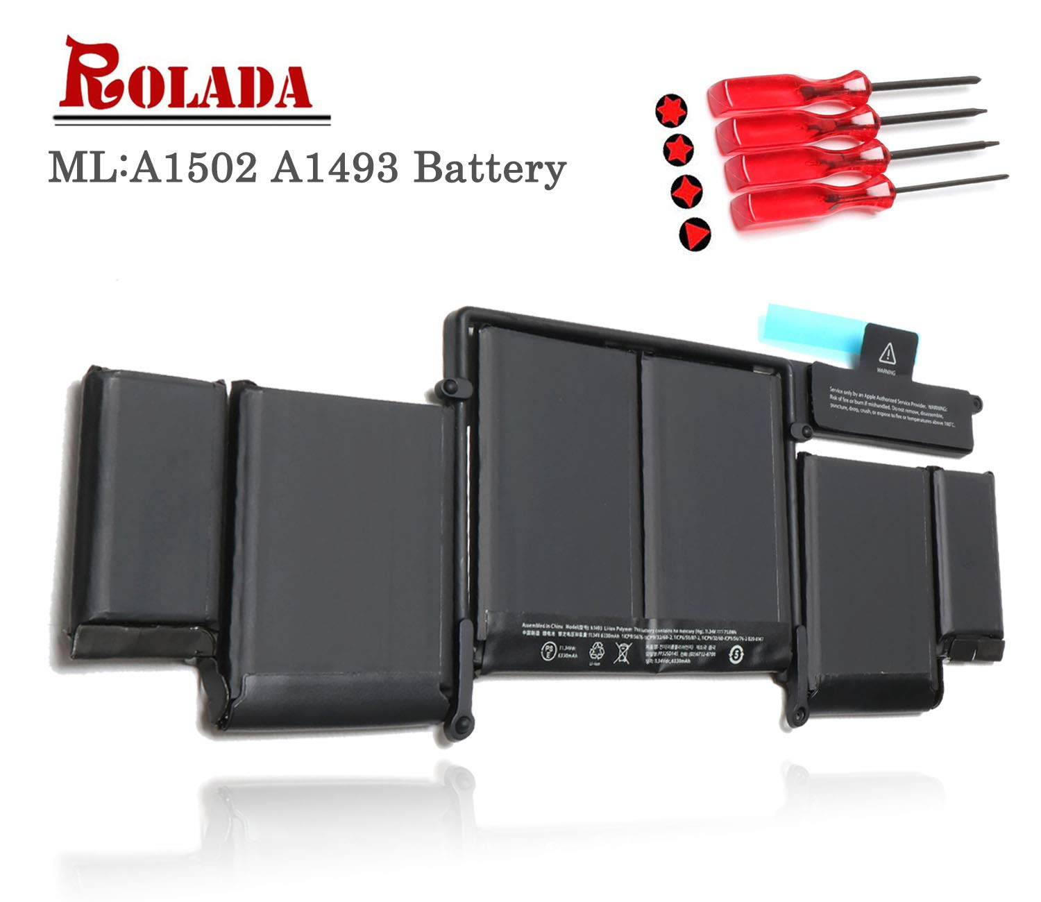 A1493 New Laptop Battery for Apple A1502 ME864LL/A ME866LL/A; MacBook Pro 13'' Retina Battery-Only for Late 2013, Mid 2014 Version [Li-Polymer 11.34V 71.8Wh]