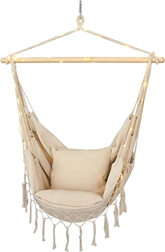 Hammock Chair Made From Soft Durable Cotton Including New Extra Decorative Led Light