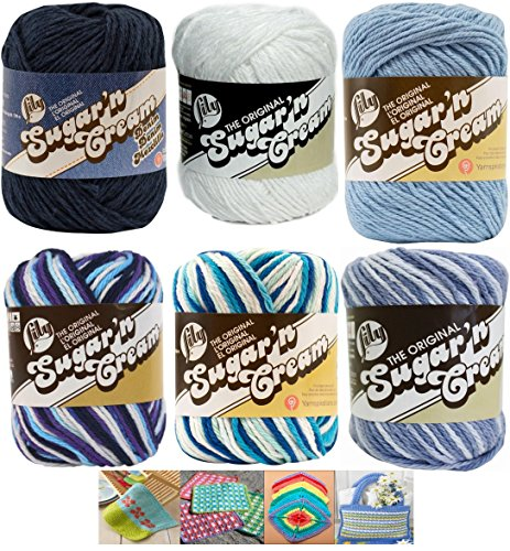 Variety Assortment Lily Sugar'n Cream Yarn 100 Percent Cotton Solids and Ombres (6-Pack) Medium Number 4 Worsted Bundle with 4 Patterns (Asst -