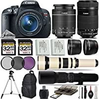 Canon EOS Rebel T5i DSLR Camera + Canon 18-55mm STM Lens + Canon 55-250mm STM Lens + 650-1300mm Zoom Lens + 500mm Telephoto Lens + 0.43X Wide Angle Lens + 2.2x Telephoto Lens - International Version