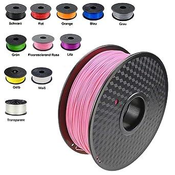 Demu - 1 kg de rollo de bobina de filamento para impresora 3D, 1.75 mm, 1,75mm, rosa, 1