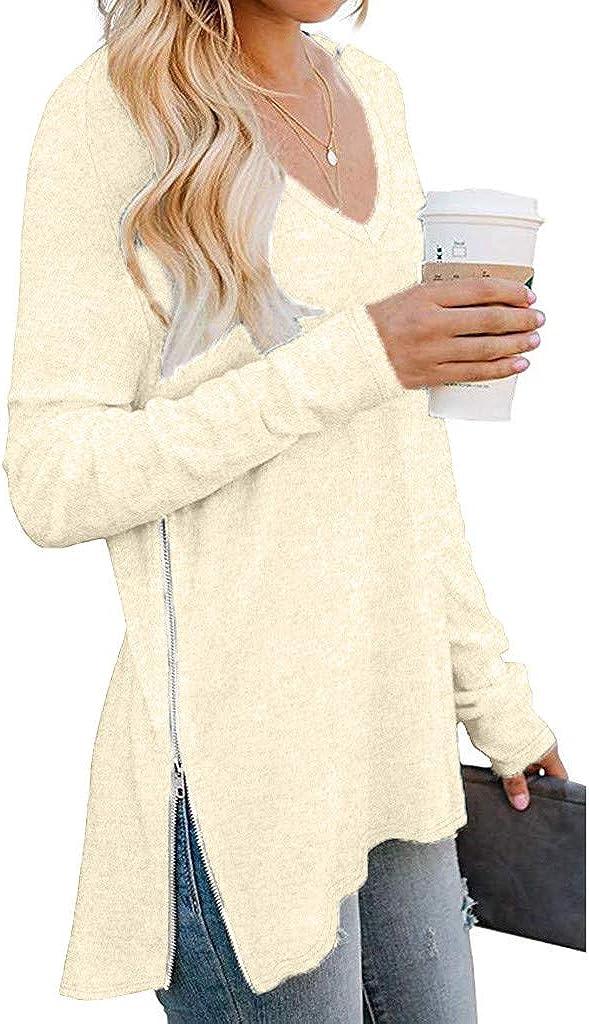 Ulanda Womens T Shirt Side Split Loose Casual Pullover Tunic Tops with Side Zipper Women Long Sleeve Shirts