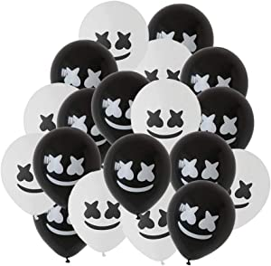 24 pcs DJ Mask Balloon - DJ Game Party Latex Balloon - DJ Marshmallow Theme Party Decorative Items Baby Shower Birthday Party Decorative Items