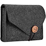 #7: ProCase Macbook Power Adapter Case Storage Bag, Felt Portable Electronics Accessories Organizer Pouch for MacBook Laptop Power Supply Magic Mouse Cables Power Bank Accessories Charger –Black