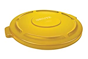 Rubbermaid Commercial Products Brute Heavy-Duty Round Waste/Utility Lid for 10-Gallon Container, Yellow (6 Pack) (FG260900YEL)