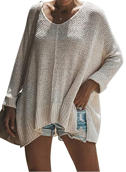 e40735ca0d6cc6 YYG Womens Long Sleeve Loose Fit High-Low Knitting Casual Pullover Sweater  Jumper Tops Apricot