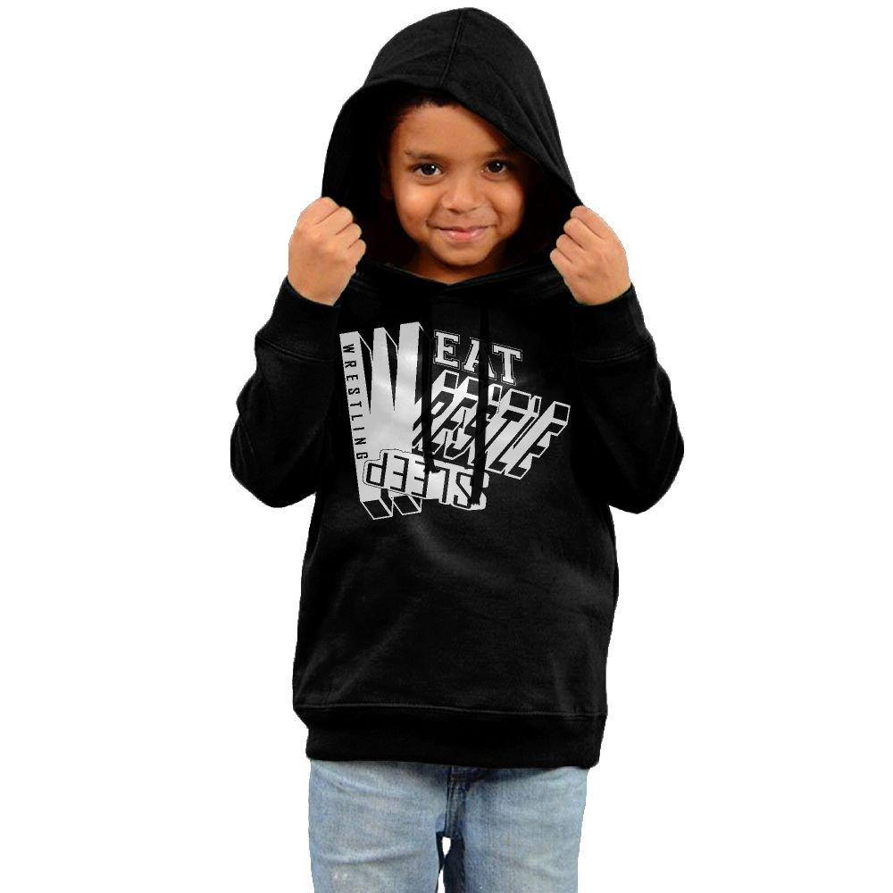 Yuanzhoud Kids Eat Sleep Wrestle Wrestling 100% Cotton Hooded Sweatshirt by Yuanzhoud