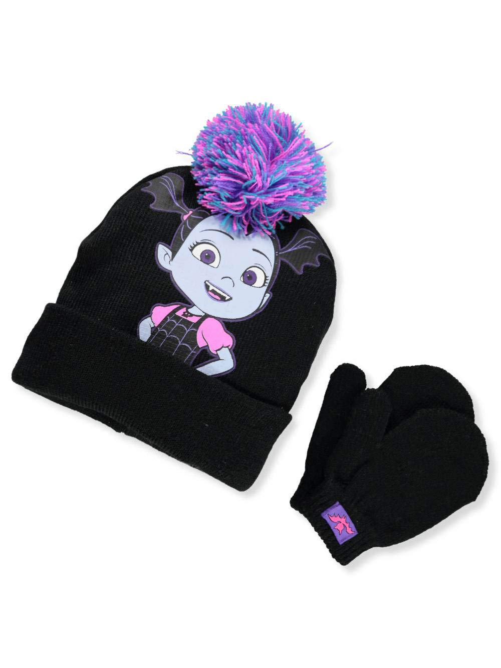 Disney Vampirina Big Girls' Beanie & Mittens Set - black/purple, one size