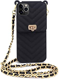 Fusicase for iPhone 11 Pro Max Wallet Case with Neck Strap Crossbody Strap Lanyard Handbag Wrist Strap Protective Cover Credit Card Holder Slot Purse for Girls Women Case for iPhone 11 Pro Max Black