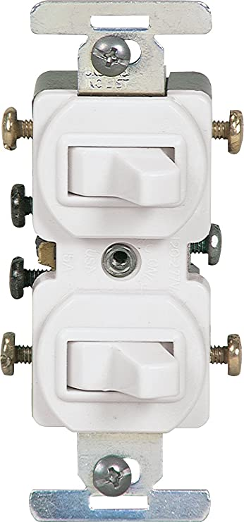 EATON 276W-BOX Wiring Combination Devices, Duplex Toggle, Grounded, White -  Electrical Outlet Switches - Amazon.com   Double Three Way Switch Wiring Diagram      Amazon
