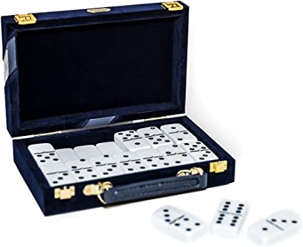 Fashion Avenue Designer Double Six White Professional Jumbo Size Tournament Dominoes Set with Spinners Bello Games New York Inc 12514