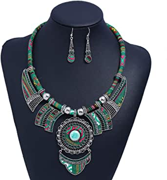 HENGYID Bohemian Necklace Earring Sets for Women – Chunky Enamel Multicolor Round Pendants Vintage Rhinestone Ethnic Necklace
