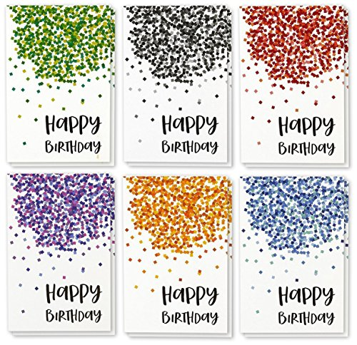 Best Paper Greetings Birthday Card - 48-Pack Birthday Cards Box Set, Happy Birthday Cards - Confetti Designs Birthday Card Bulk, Envelopes Included, 4 x 6 inches by Best Paper Greetings