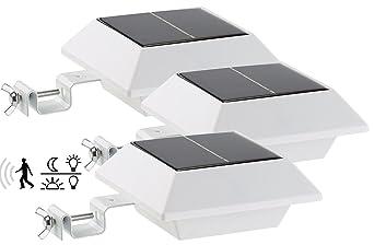 Lunartec Dachrinnen Lampe: Solar-LED-Dachrinnenleuchte, 160 lm, 2 W, PIR-Sensor, weiß, 3er-Set (Solar Dach Wegbeleuchtung)