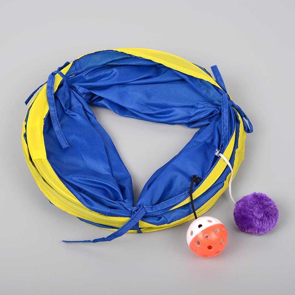 Kicode Plegable T/únel para Mascotas Funny Cat Kitten GOG Hurones Conejos Crinkle con el Juguete Ring Bell Collapsible Colorful 55cm