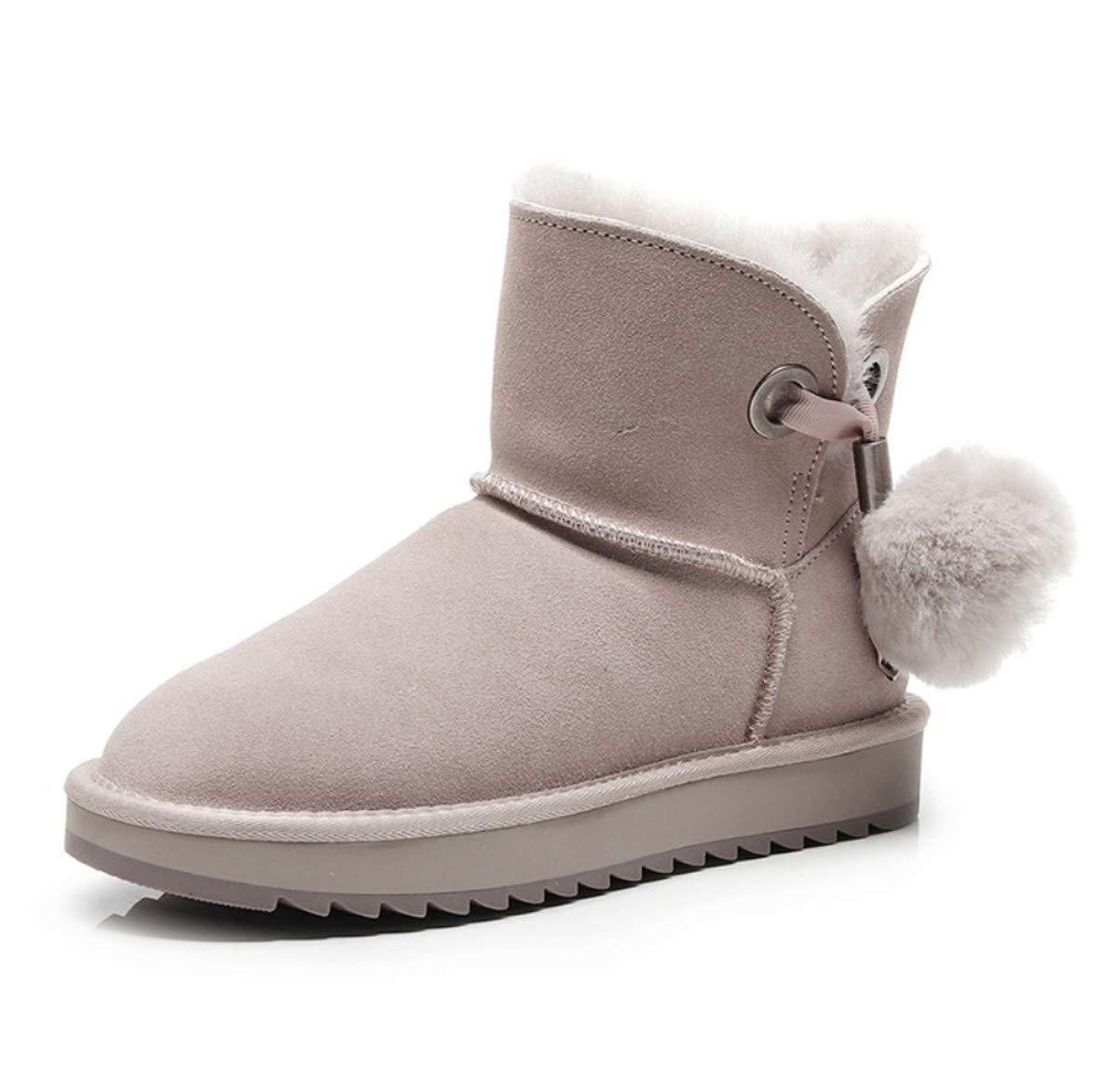 DANDANJIE Damen Schneestiefel Pom-Pom Casual Stiefeletten Handgefertigte warme Schuhe für Herbst und Winter