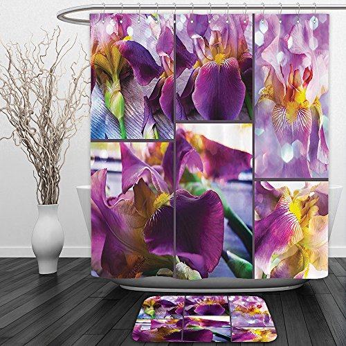 Vipsung Shower Curtain And Ground MatHome Decor Blooming Iris Flowers Orchids On Rustic Wood Natural Floral Beauty Romantic Light Image Yellow PurpleShower Curtain Set with Bath Mats Rugs