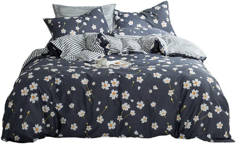 Vintage Flower Duvet Cover Set Queen Cotton Printed Bedding Romantic Floral Duvet Cover with 2 Pillow Shams Reversible Striped Bedding Sets Bedding Sets (Queen, Daisy)