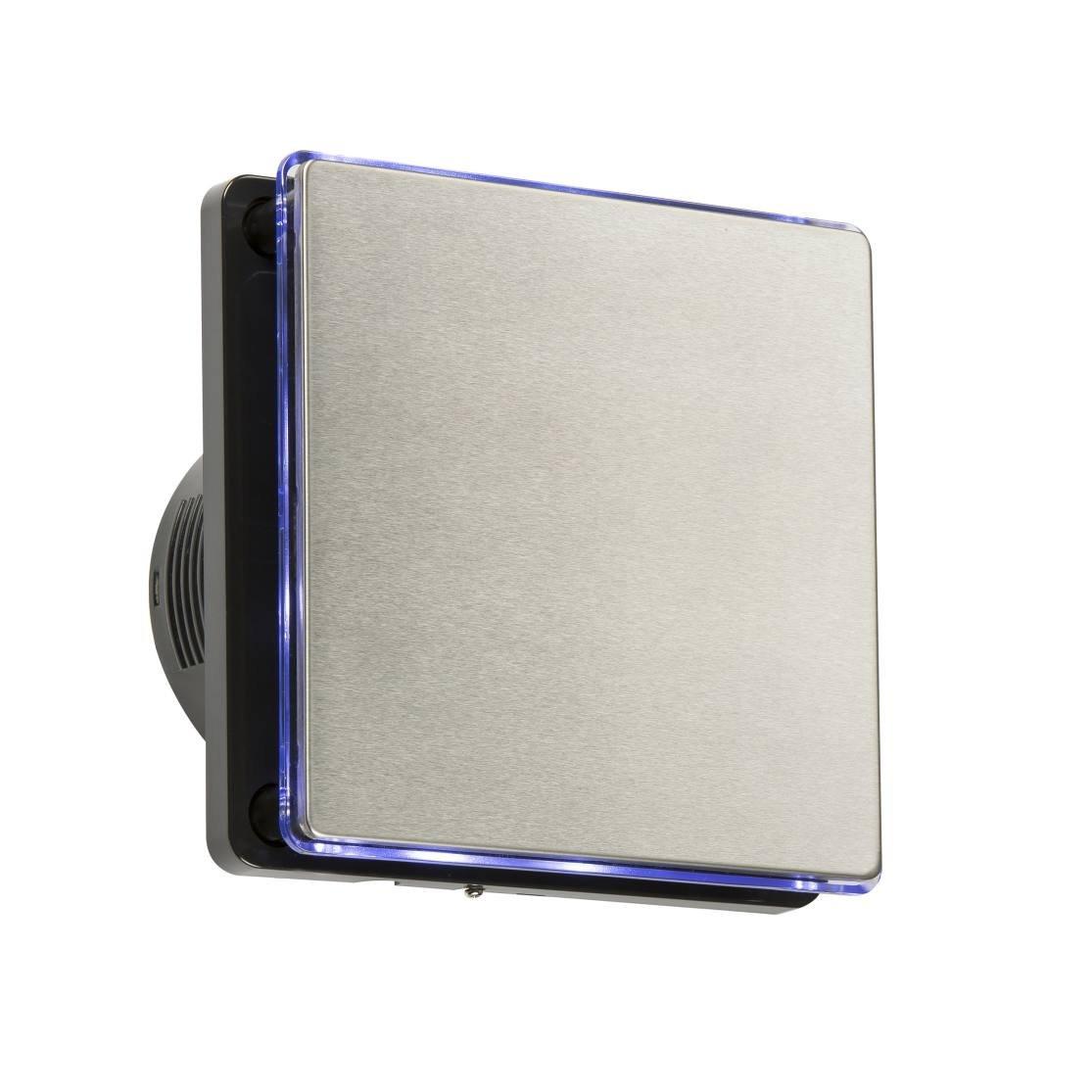 Knightsbridge 100mm/10, 2cm LED Hintergrundbeleuchtung Abluftventilator mit Nachlauf-Timer–schwarz und Edelstahl ex004t Knightsbridge 100mm/10