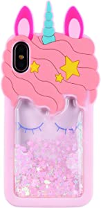 "FunTeens Bling Unicorn Case for iPhone XR 6.1"",3D Cartoon Animal Design Cute Soft Silicone Quicksand Glitter Stars Bling Shiny Cover,Kawaii Fashion Cool Skin for Kids Child Teens Girls(iPhone XR)"
