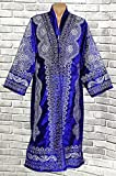 STUNNING UZBEK SILVER SILK EMBROIDERED UNISEX ROBE CHAPAN FROM BUKHARA A8722