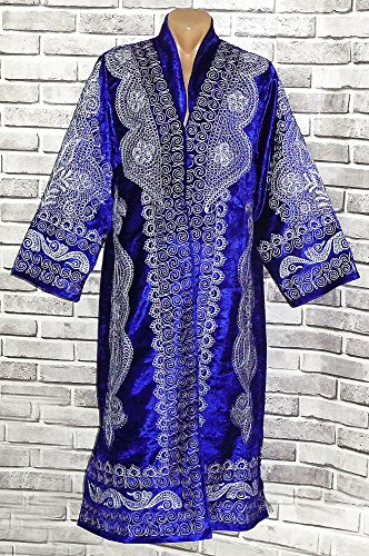 STUNNING UZBEK SILVER SILK EMBROIDERED UNISEX ROBE CHAPAN FROM BUKHARA A8722 by East treasures