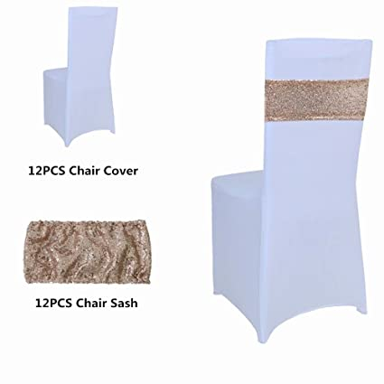 Surprising White Color Spandex Folding Stretchable Chair Covers And Rose Gold Sequin Chair Sash Pack Of 12 Alphanode Cool Chair Designs And Ideas Alphanodeonline