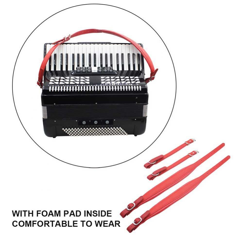 1 Pair Adjustable Accordion Shoulder Strap Durable PU Leather Arm Straps Set for Accordion (Red)