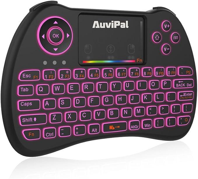 AuviPal R9 2.4GHz Mini teclado inalámbrico Combo para streaming TV Stick/Android TV Box/PC y más – Versión RGB retroiluminada