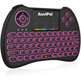 AuviPal R9 2.4GHz Mini Wireless Keyboard Mouse Combo with 2 in 1 USB Cable for Streaming TV Stick (2nd Gen)/ Raspberry Pi/Android Phone/Tablet/ TV Box and More - RGB Colorful Backlit Version