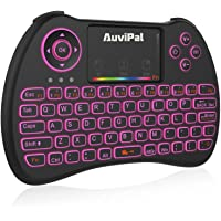 AuviPal R9 2.4GHz Mini Wireless Keyboard Mouse Combo with 2 in 1 USB Cable for Amazon Fire TV Stick (2nd Gen), Android Phone/Tablet / TV Box and More - RGB Colorful Backlit Version
