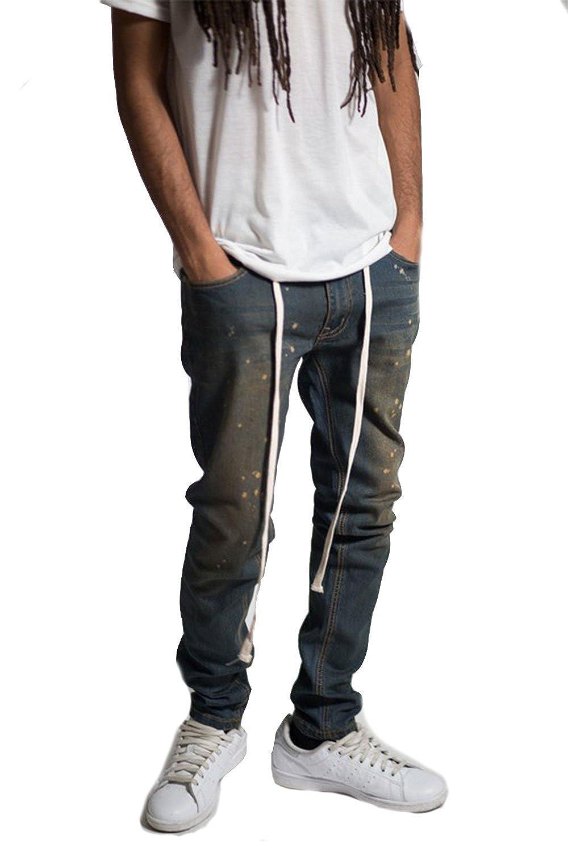 30, Vintage Blue GENx Mens Paint Splatter Hip Hop Drawstring Wash Skinny Jeans KD4147