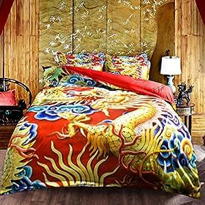 Chinese element dragon totem Home Comforter Bedding Sets Duvet Cover Sets Bedspread ,Flat Sheet, Shams Set 4Pieces,(Full)for Adult Kids Teenage Teens