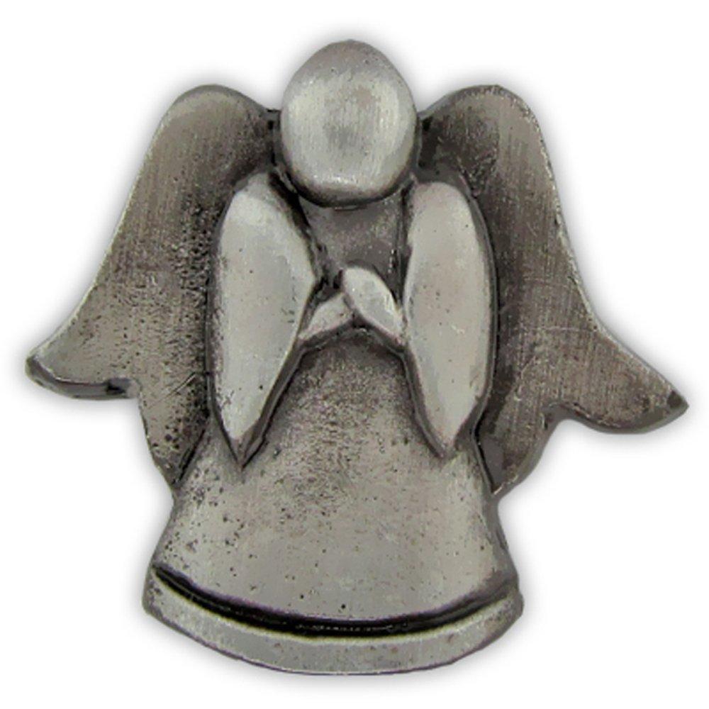 PinMart's Antique Silver Religious Spiritual Angel Praying Lapel Pin