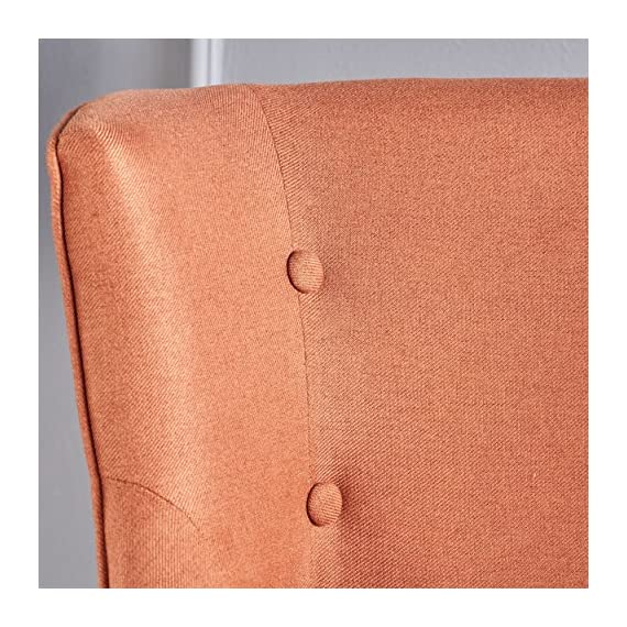 "Christopher Knight Home Adelina Fabric Occaisional Chair, Orange - This deep seated occasional chair is perfect for adding a splash of color to your home while still providing extra seating when needed. Made with top quality material and featuring hand crafted detail work, this chair is a must have. Each stud and button was placed by hand; making any piece you buy a one of a kind. Includes: One (1) Chair Dimensions: 28.50""D x 28.00""W x 31.50""H - living-room-furniture, living-room, accent-chairs - 61v9PWoN21L. SS570  -"