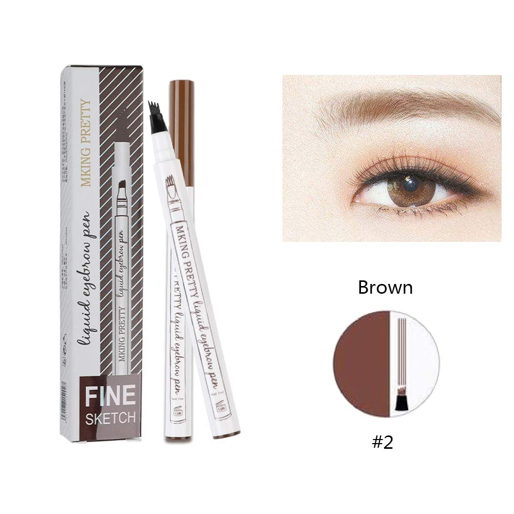 Fork Tip Eyebrow Pen, Zhengpin 3 Head Eyebrow Tattoo Pencil Waterproof Eyebrow Enhancer Liquid Tint Microblading Pen Pencil for Eyes Makeup (#3 Grey-black)