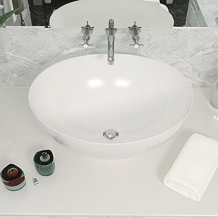 Anaelle Pandamoto Lavabo Vasque à Poser Ovale en Céramique ...