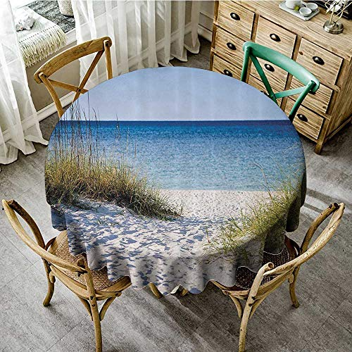 familytaste Modern Printed Table Cloth Seaside Decor Collection,Path to The Beach Clear Sky Bushes Grasses Windy Sunny Day Peaceful Gulf of Mexico Picture,Navy Blue D 36