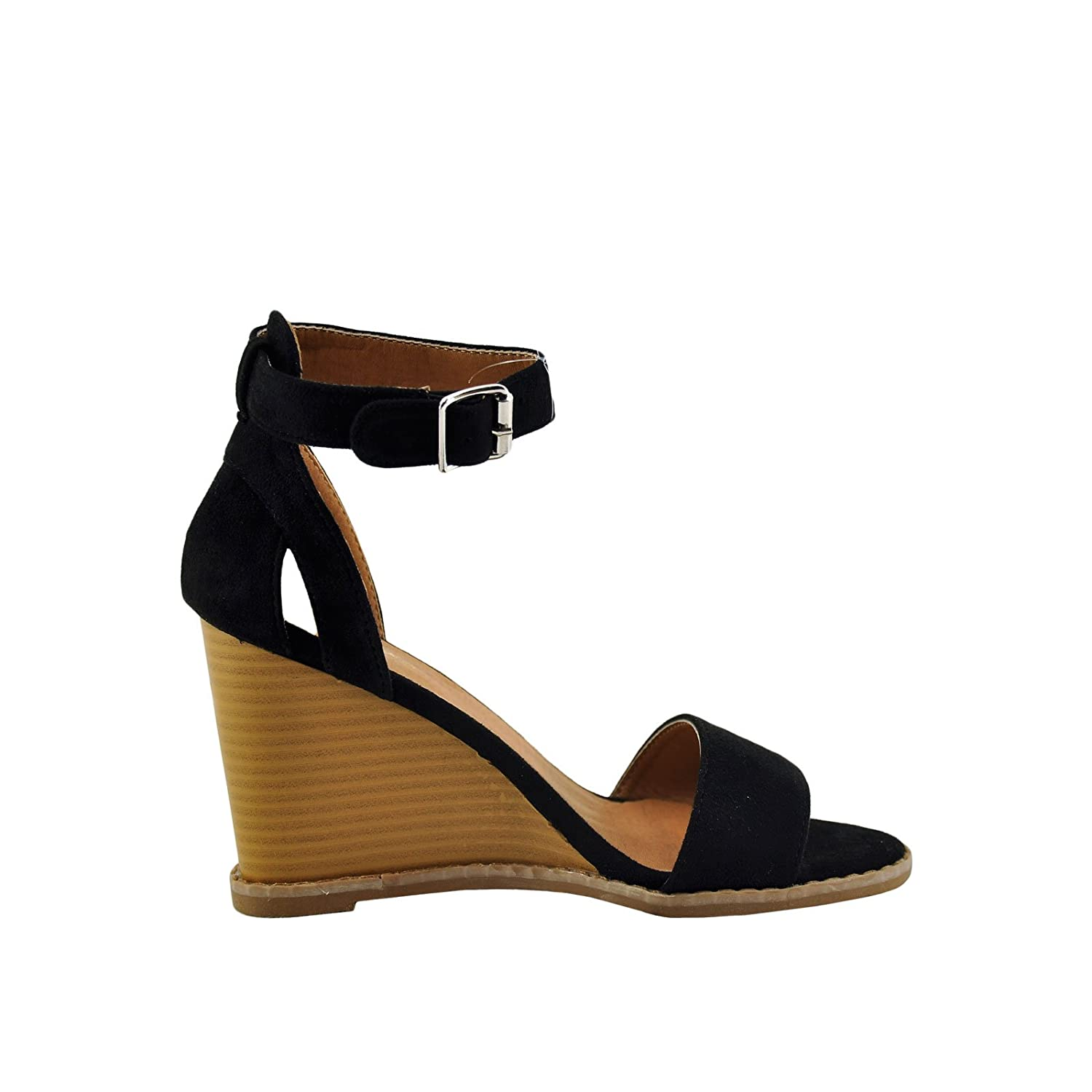 76ca44401d2506 Qupid Finley 01 Women s Open Toe Toe Toe Ankle Strap Stacked Wedge  B076VG986V 6 B(M) US