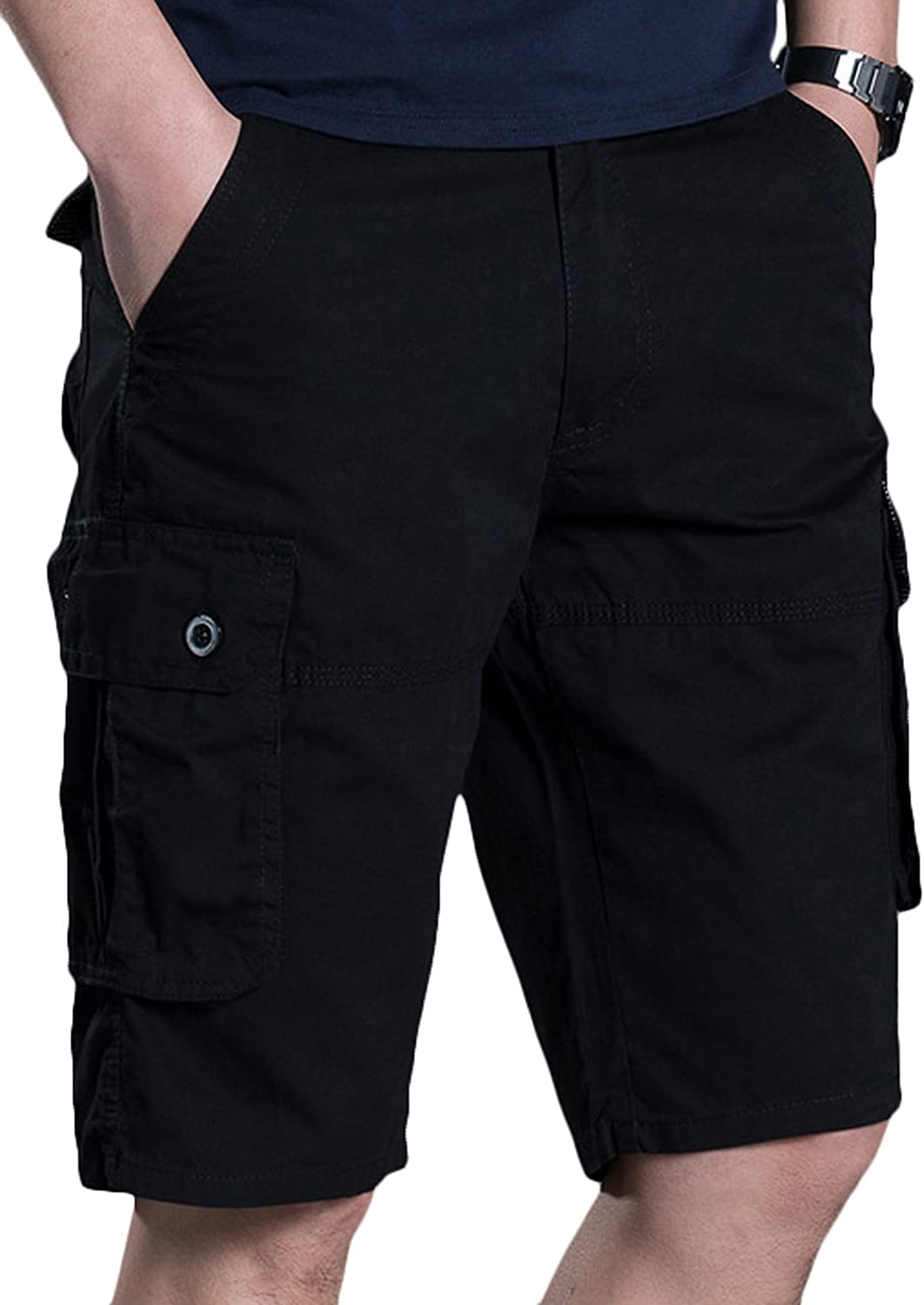 Youhan Mens Casual Cotton Summer Relaxed Cargo Shorts