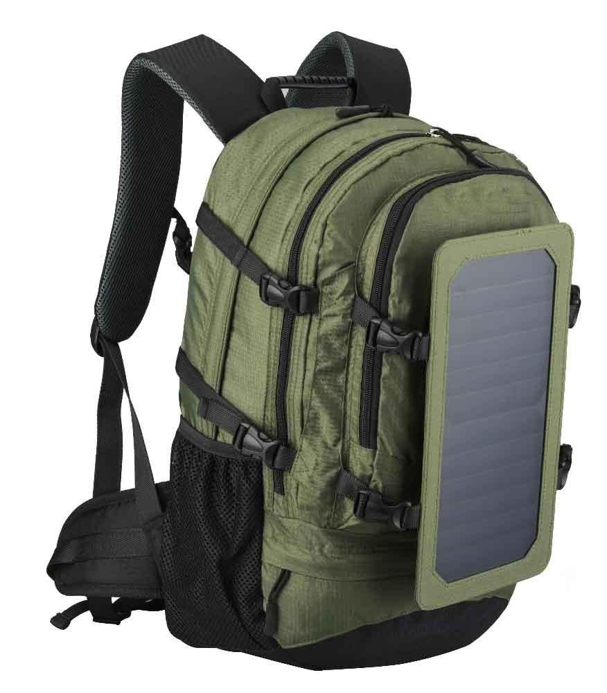 SAYES SOLAR Produktname: Sayes 45L Schwarz und Armee Grün Farben mit 6,5 W6 V Sunpower Solar Panel Solar-Ladegerät Tasche