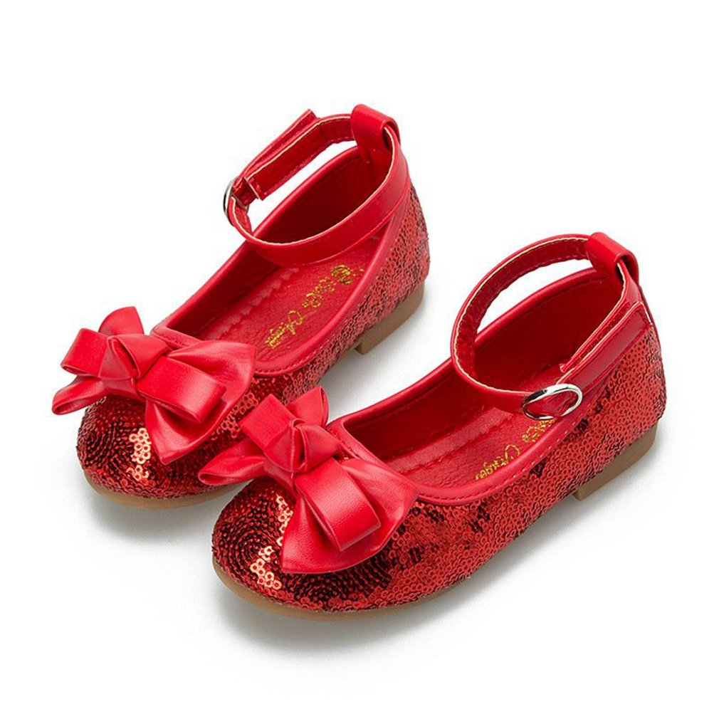 CYBLING Girls Sequins Bowknot Ballet Ballerina Flat Princess Wedding Shoes Mary Janes with Ankle Strap